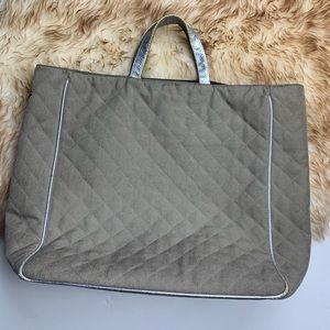 MZ Wallace Metallic Silver Tote Gray Quilted